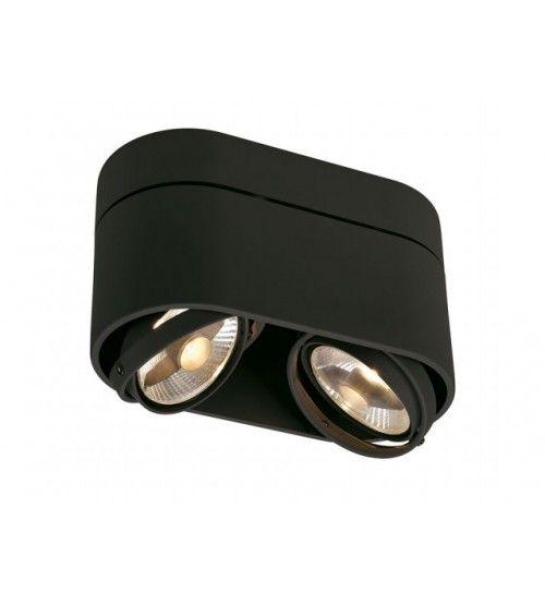 Grote Spot Zwart Ovaal 2 X Es111 230 Volt Verlichting Plafondlamp Halogeenlamp