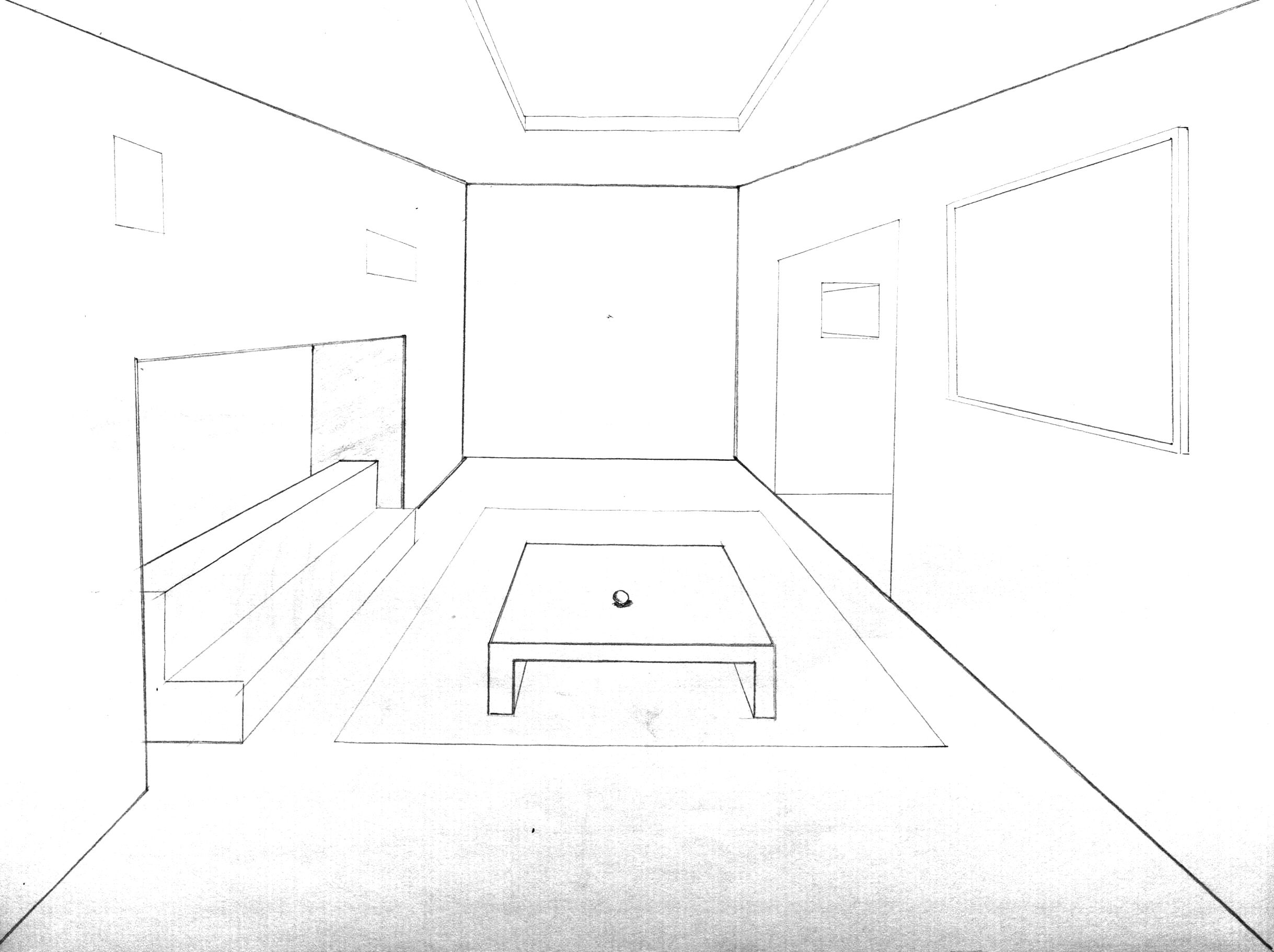 One point perspective #art #design #architecture #drawing #sketch #Onepointperspective