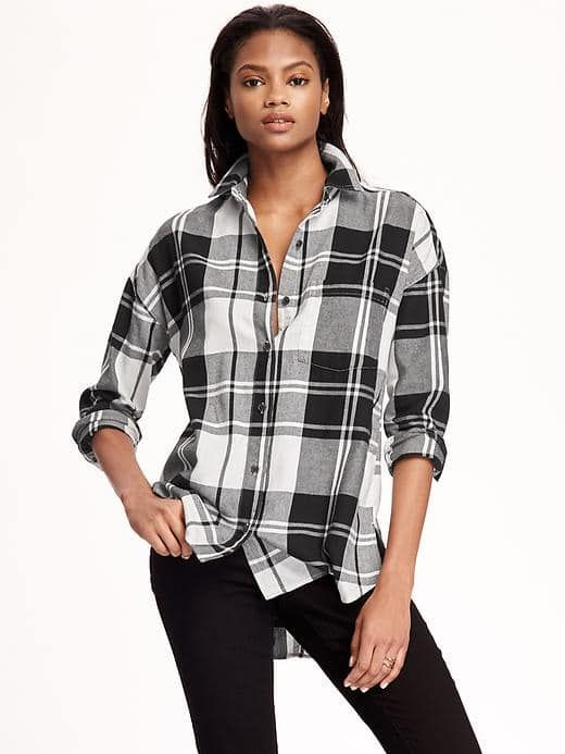 255a4816820f8 Boyfriend Flannel Shirt - Old Navy Black And White Flannel