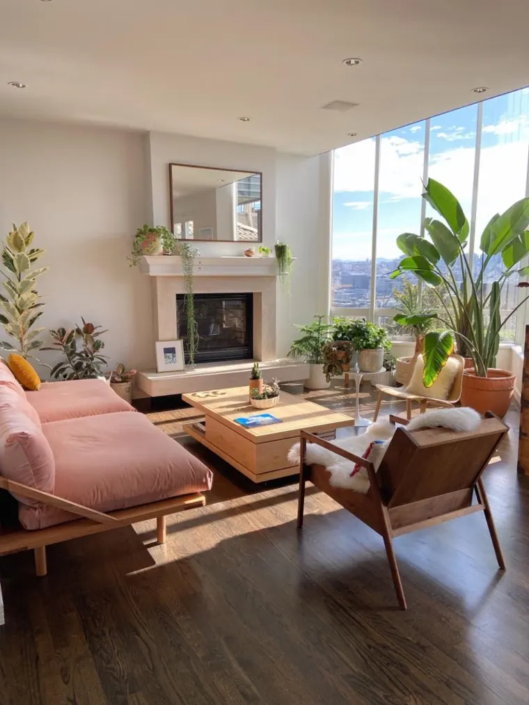 Photo of A Sunny Seattle Home Has an Enviable Pink Sofa and Over 60 Plant Babies