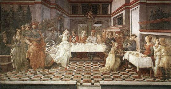 Banchetto di Erode e Danza di Salome' Coro del Duomo di Prato  1452-1462 affresco  Prato, duomo more on: www.thebookofart.weebly.com