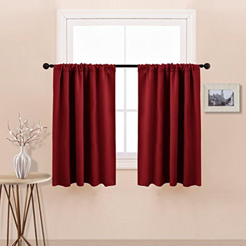 Burgundy red blackout window treatment curtains xmas home decor rod