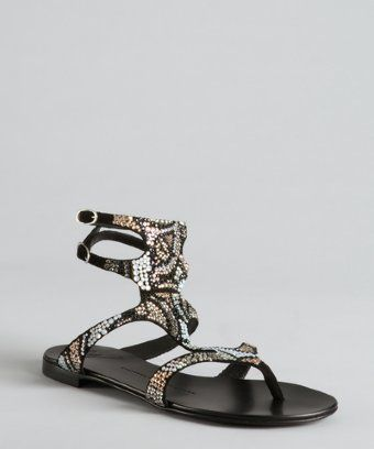 Giuseppe Zanotti black suede rhinestone embellished strappy sandals Review Buy Now