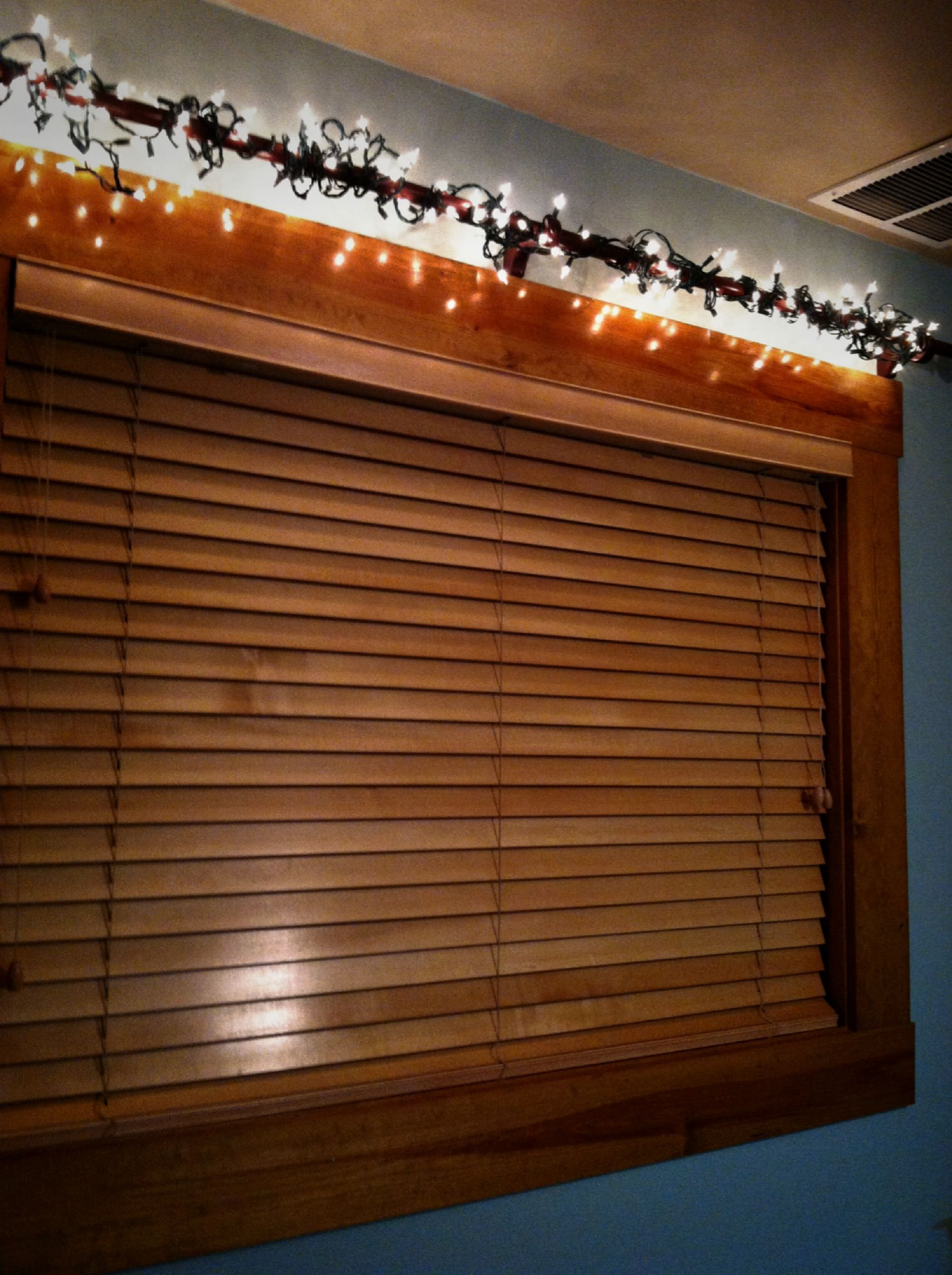 Hang Christmas Lights Over Window With Curtain Rod Hanging Christmas Lights Christmas Lights Home