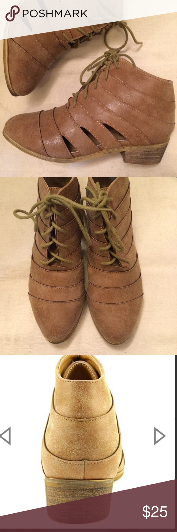 🍂🍁Cut-out Booties - Tan Brand new, never worn! Dust bags/wrapping  included, but no box. Synthetic upper. Fit TTS, great cut out and lace-up style. AXNY Shoes Ankle Boots & Booties