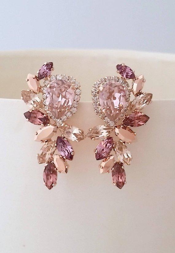Blush Earrings Morganite Bridal Earrings Rose Gold Earrings Chandelier Earrings Extra Large Stud Earrings Swarovski Earring Cluster Earring Rose Gold Bridal Earrings Blush Earrings Bridal Earrings