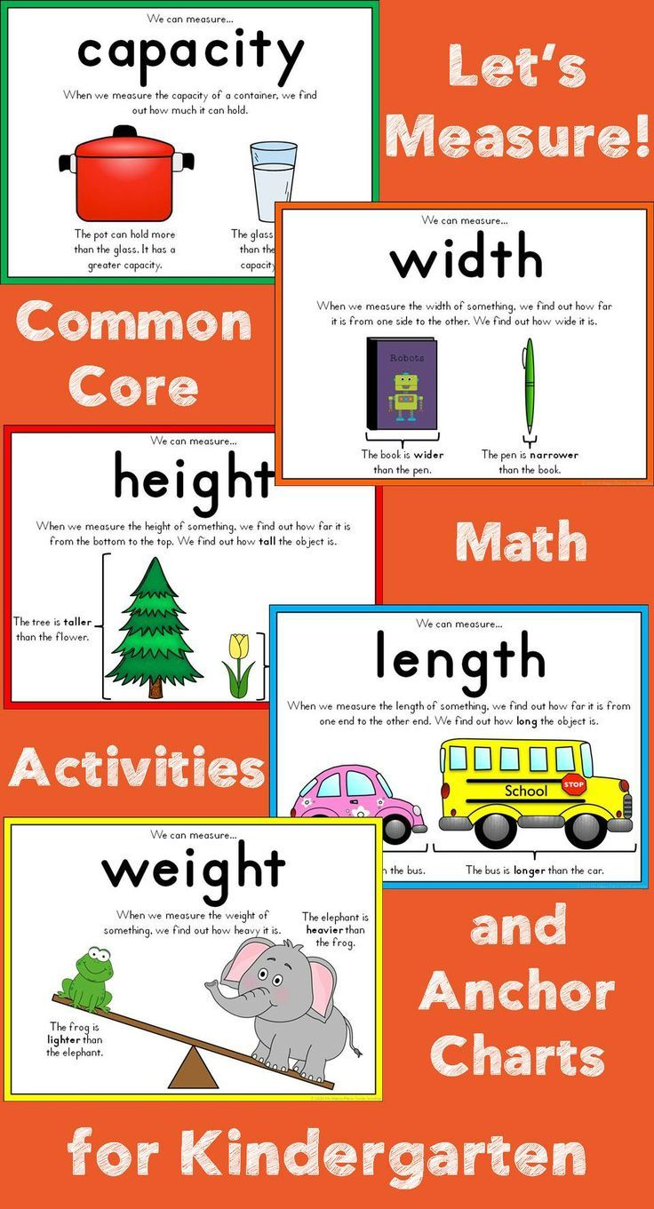 Measurement for kindergarten kindergarten math anchor charts and math kindergarten math for the common core classroom capacity length weight geenschuldenfo Image collections