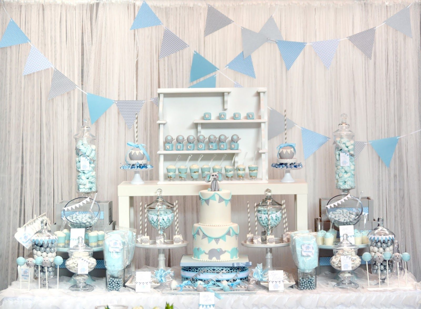 Baby Blue and Gray Elephant Baby Shower dessert table and ...