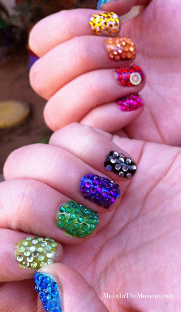 DIY Crystal Nails Rainbow Version | Nail Design Ideas 2015 | crystal ...