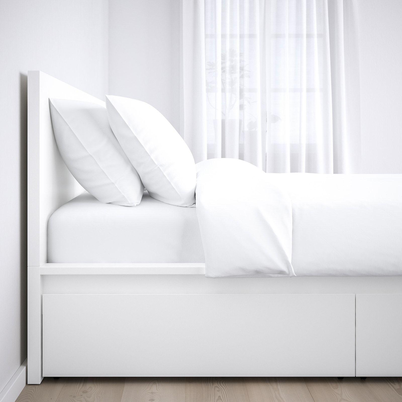 Malm Bedframe Hoog Met 2 Bedlades Wit Lonset 90x200 Cm In 2020 Hoge Bedden Lattenbodems En Bed Met Lades