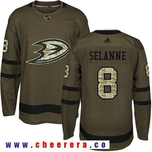 Adidas Ducks #8 Teemu Selanne Green Salute to Service Stitched NHL Jersey    Hockey Jerseys   Pinterest   Nhl jerseys, Nhl hockey jerseys and Hockey