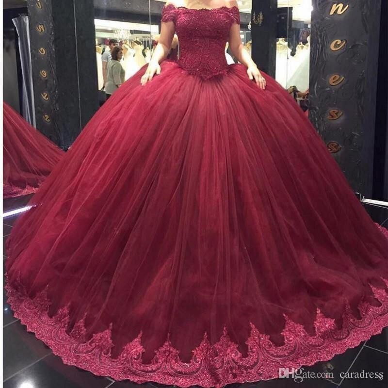 531daf409c8 Burgundy Quinceanera Dresses With Appliques Lace Off the Shoulder Sweet 16  Dress Masquerade Prom Ball Gowns Plus Size Vestidos de 15 anos