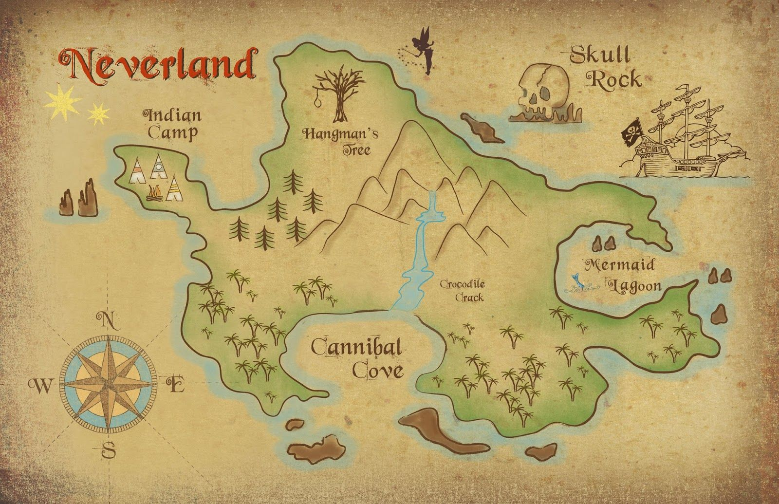Map Of Neverland Neverland map download | #DisneySide Parties   Peter Pan | Peter