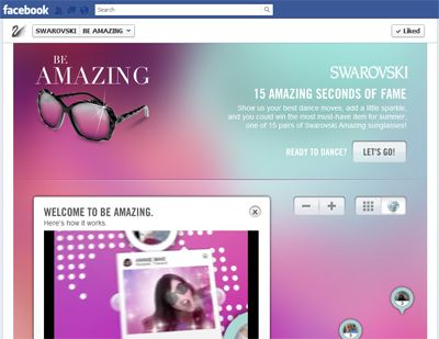 Swarovski is asking Facebook fans to make videos of themselves dancing in virtual Swarovski sunglasses via an application on its Timeline for the chance to win eyewear from the brand's new collection.