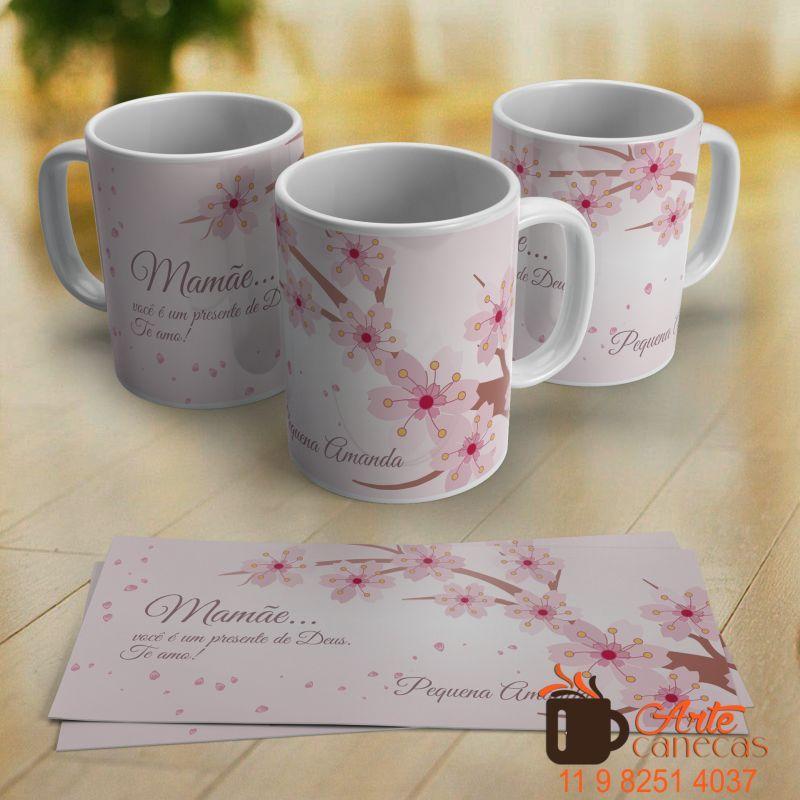 Caneca Personalizada Dia Das Mães Flor De Cerejeira Tazas