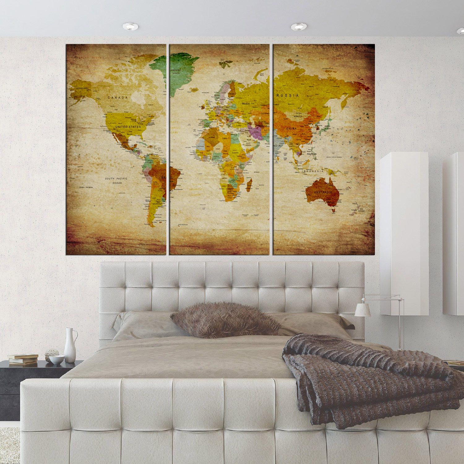 Large push pin world atlas map wall art canvas print set of 3 pieces ...