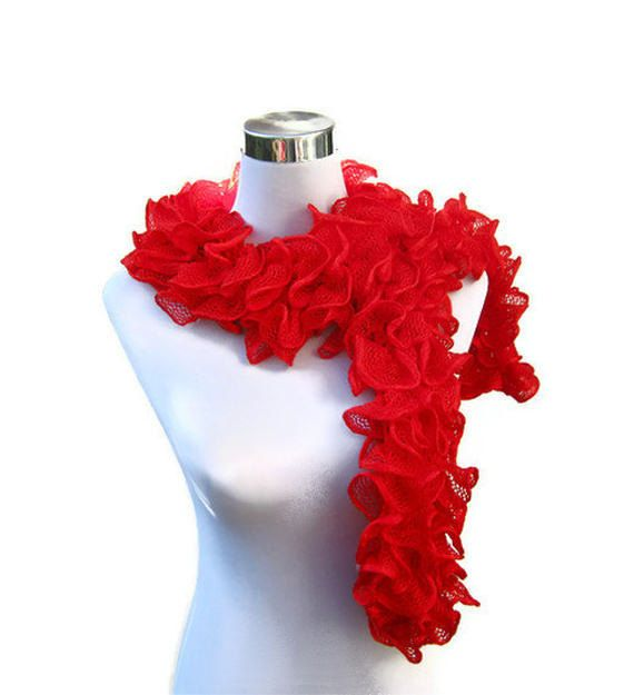 Red ruffle scarf flamenco cancan frilly knitted by jarg0n on Etsy, £20.00
