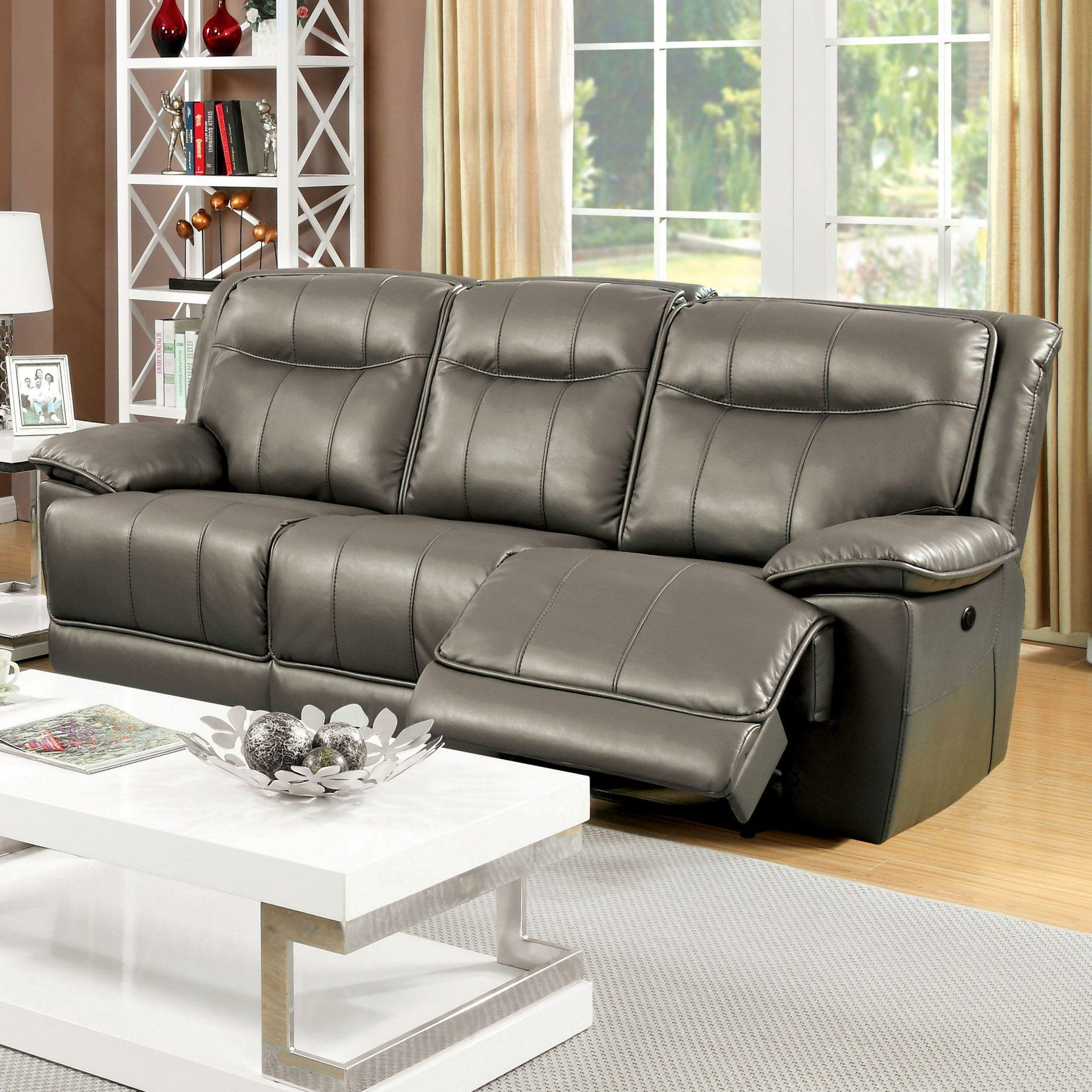 Furniture of america varic leatherette reclining sofa idfbr