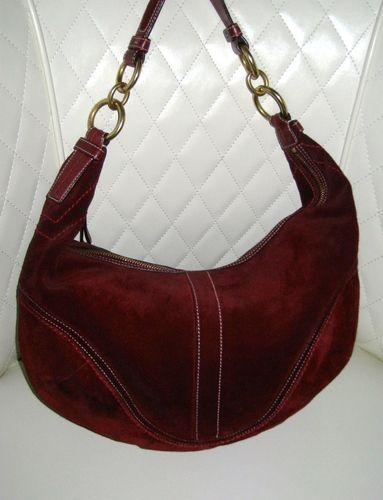 acbf7408a56f COACH Soho Bordeaux Red Suede Large Hobo PreLoved. Starting at  45 on  Tophatter.com!