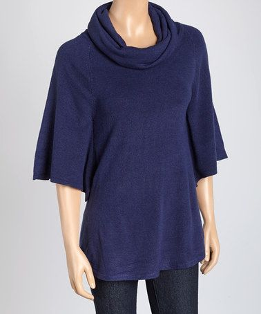 Another great find on #zulily! Navy Cowl Neck Short-Sleeve Sweater by Eden Court #zulilyfinds