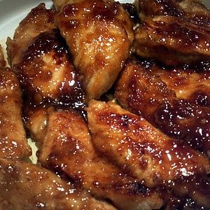 Honey Chicken. Ingredients: 8 chicken strips 1/2 cup flour 2 Tbsp. Black pepper 2 Tbsp. salt 2Tbsp. Paprika Preheat oven to 400. Roll chicken in flour, fully cover, place strips in a 9x11 or 8x8 pan, place in oven for 10 minutes. Meanwhile make sauce. You need: 1/3 cup lemon juice 1/2 stick butter, melted 3 Tbsp. Bbq Sauce 1/2 cup honey Mix all the sauce ingredients together. After chicken has cooked 10 minut...