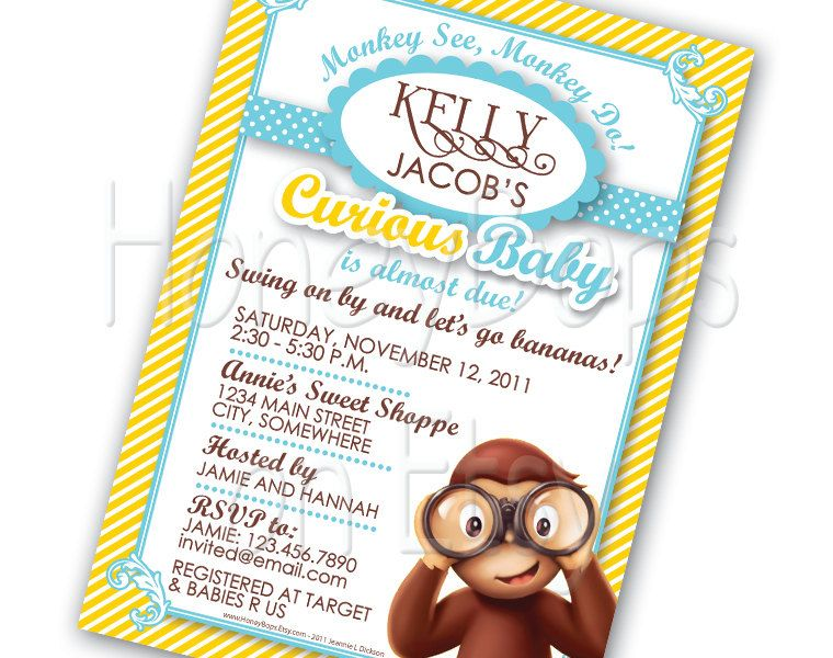 Curious george invitation baby shower birthday custom diy uprint jpg curious george invitation baby shower birthday custom diy uprint jpg digital file 1495 via filmwisefo Image collections