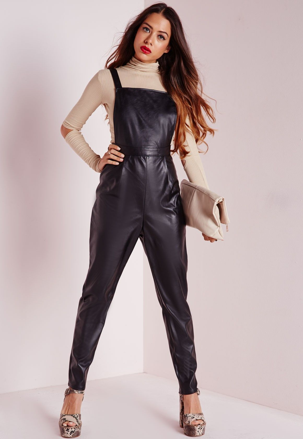 buying now in stock shop for official Missguided - Faux Leather Overalls Black | Cheap finds ...