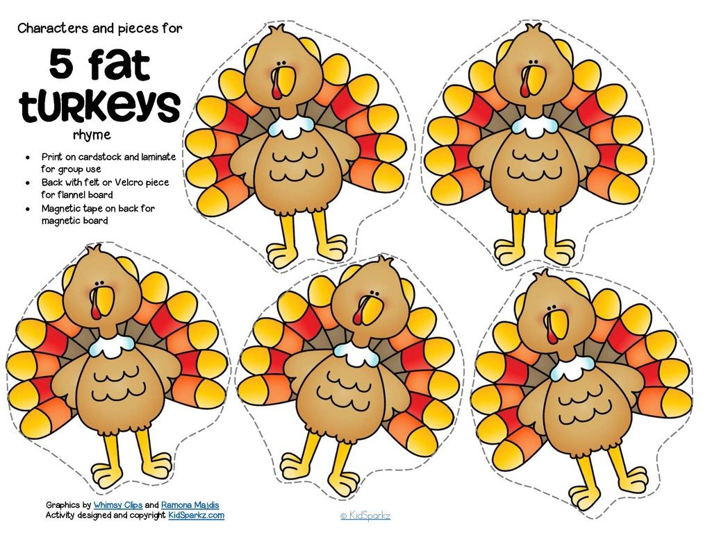 Free 5 Fat Turkeys Counting Rhyme