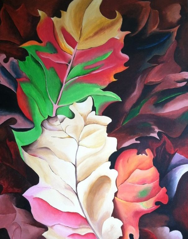 "A Tribute to Georgia O'Keeffe's Autumn Leaves, 32""x40"" acrylic on canvas - Rowena Art & Design"