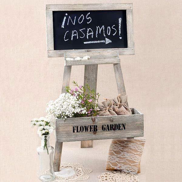 Pizarra rustica con caballete y caja para poner flores - Mesa con caballetes ...
