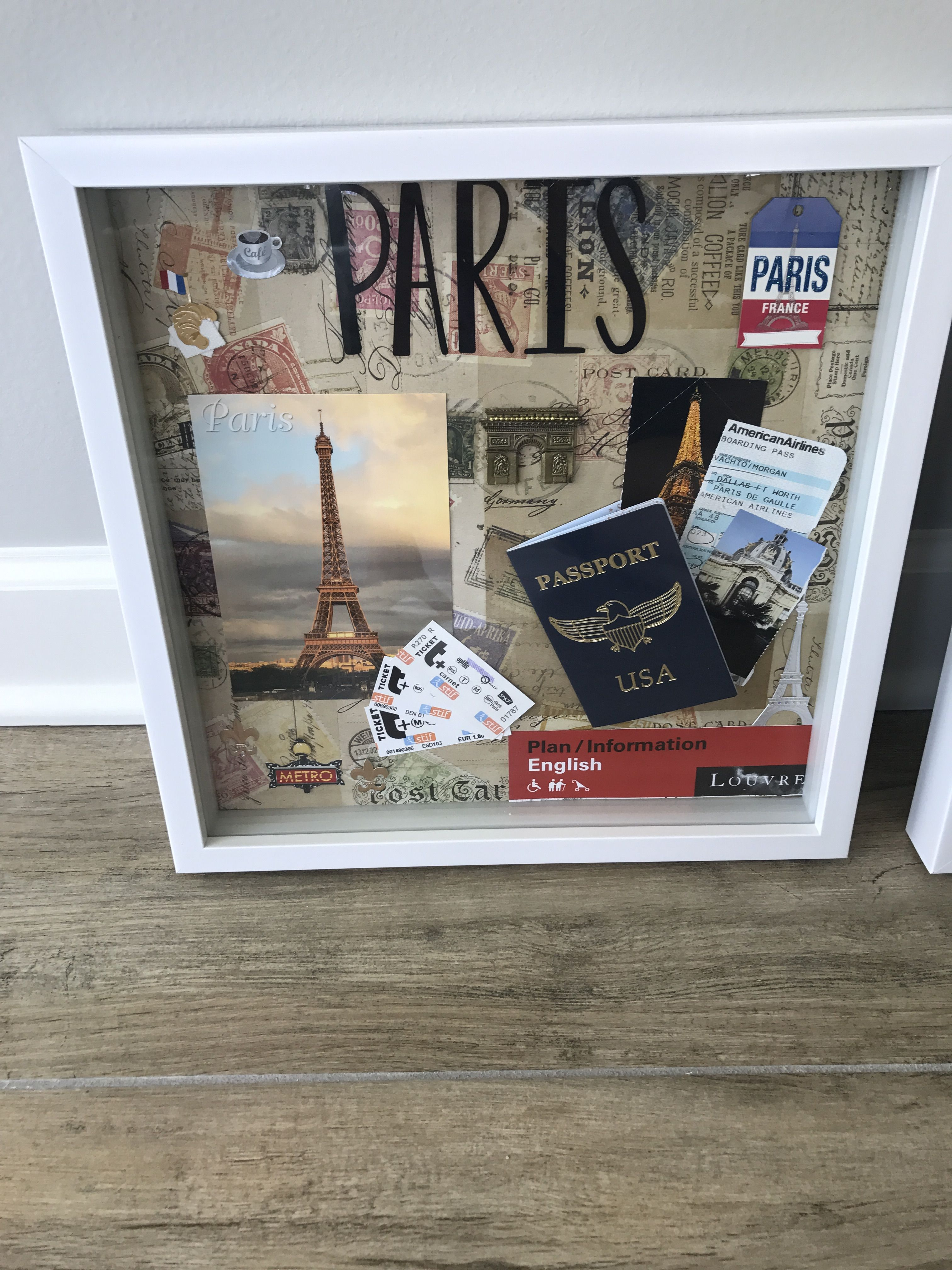 Paris Shadow Box Diy Travel Decor Travel Shadow Boxes Travel Keepsakes