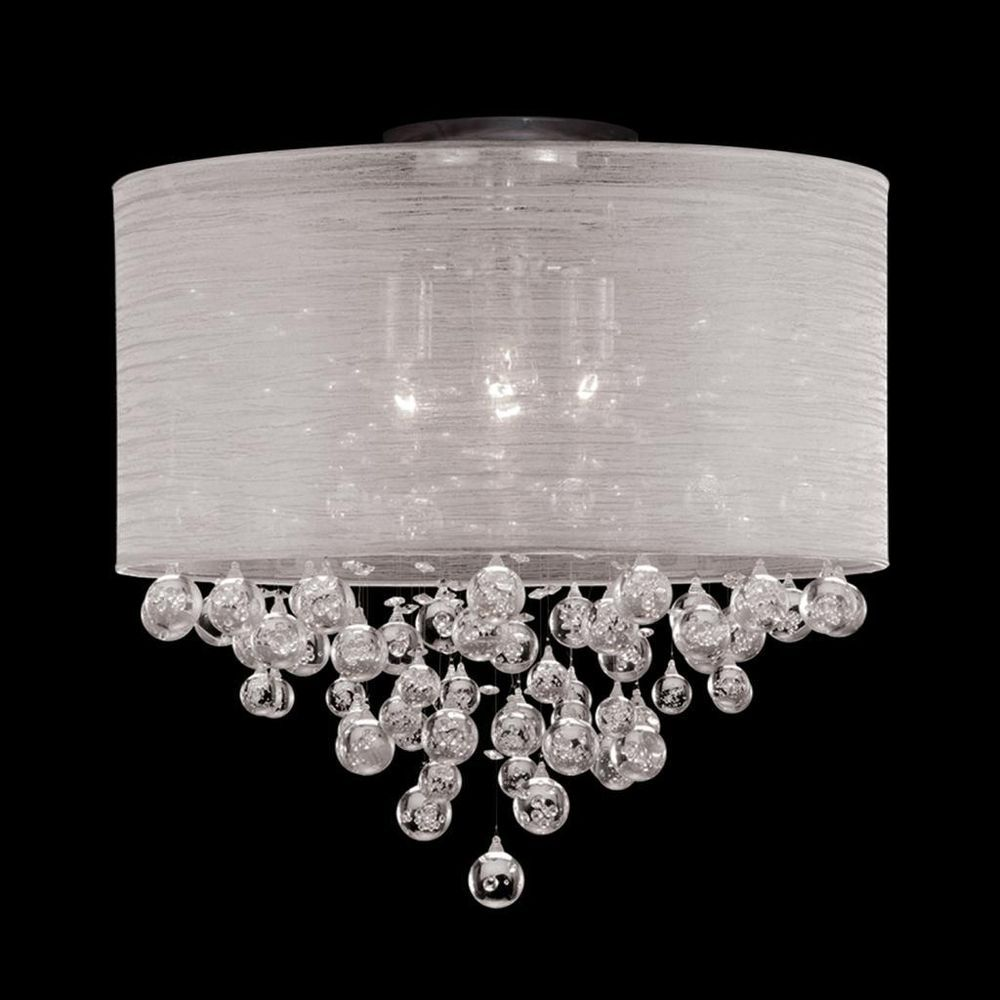 New 4 Lamp Drum Shade Crystal Flush Mount Ceiling Light Lighting