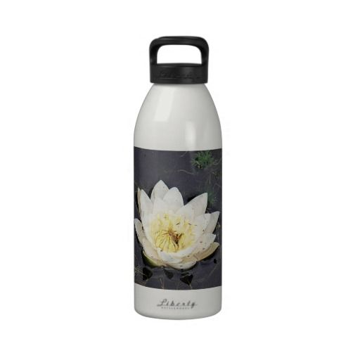 Drinking bottle white and yellow water lily  #drinkingbottle #bottles #flowers #white #fotosbykarin #Zazzle #gifts