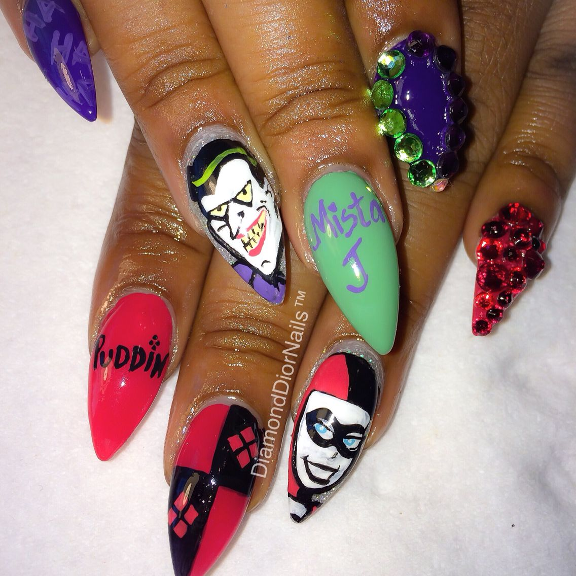 Joker and Harley Quinn nails by me | Nails I love! | Pinterest ...