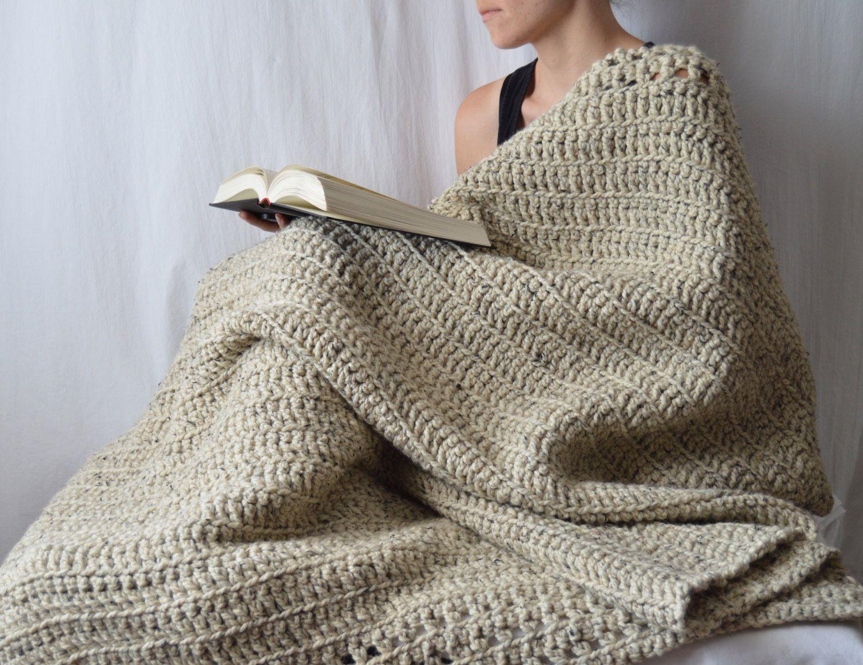 Wool Crochet Blanket, Acrylic Blend Throw, Reversible Chunky Blanket,  Housewarming Gift, Wedding