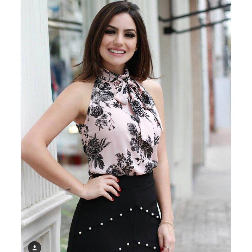 ac97b04c0 BLUSA FLORAL GOLA LAÇO | ideias em 2019 | Blusas, Blusas de moda e ...