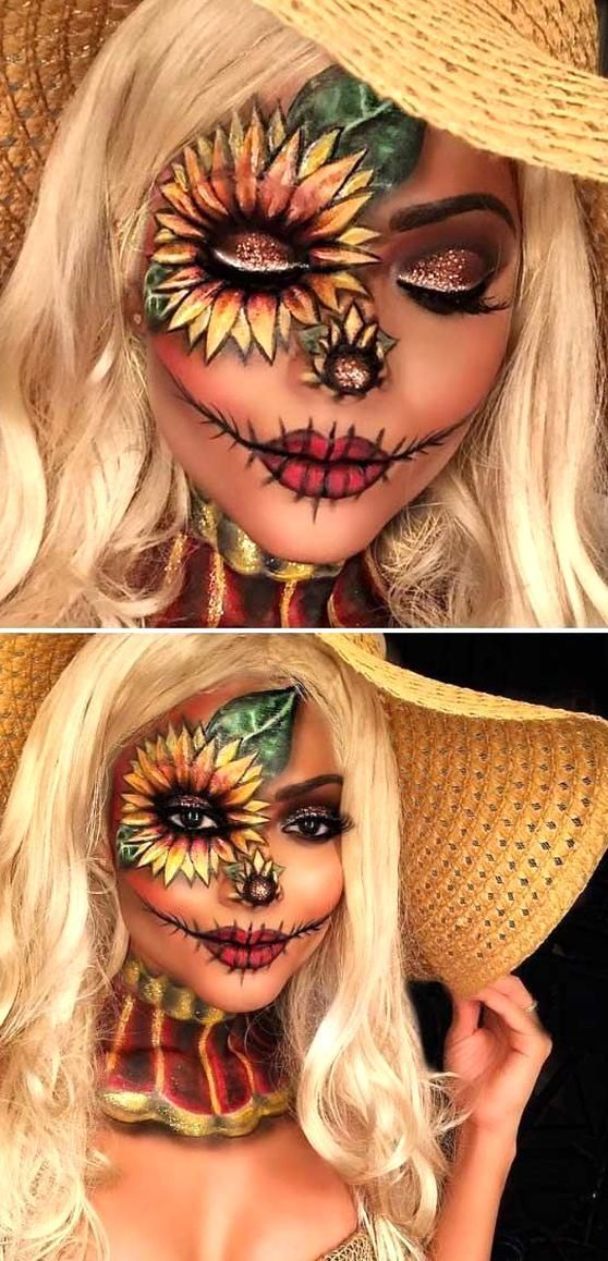 Pretty Scarecrow Sunflower Halloween Makeup Idea
