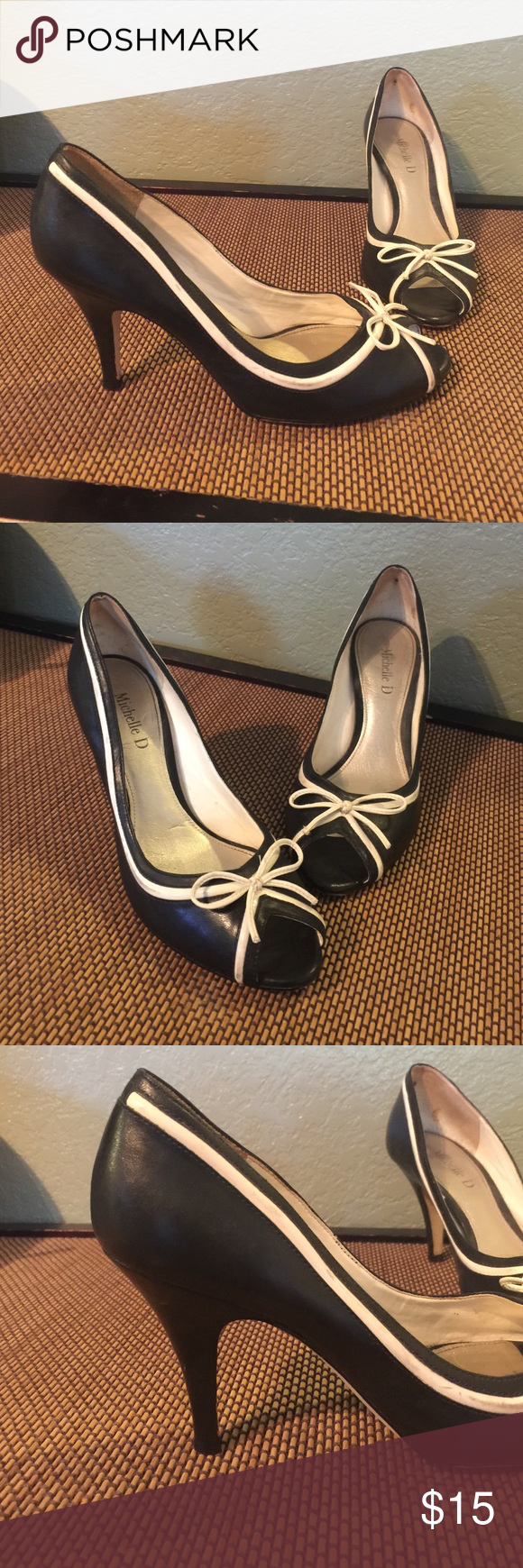 Black and White Bow Heels Peep toe black heels with white trim and bow. Have a cute retro look to them. Gently used. I always ship within 1-2 days! Michelle D Shoes Heels