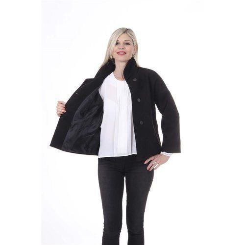 Black S Versace 19.69 Abbigliamento Sportivo Srl Milano Italia Womens Jacket MANTELLA ROSANNA TESS. VELOUR NERO