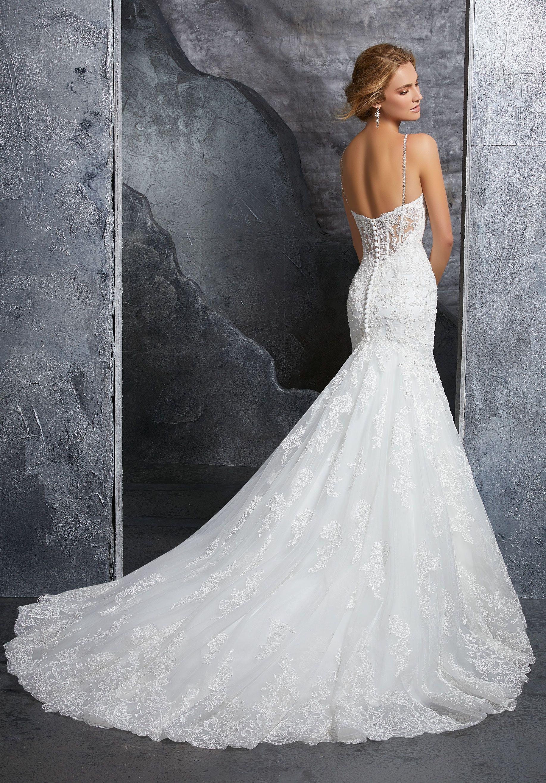 Mori lee gold wedding dress  Crystal Beaded Alençon Lace Appliqués on Net with Beaded Straps