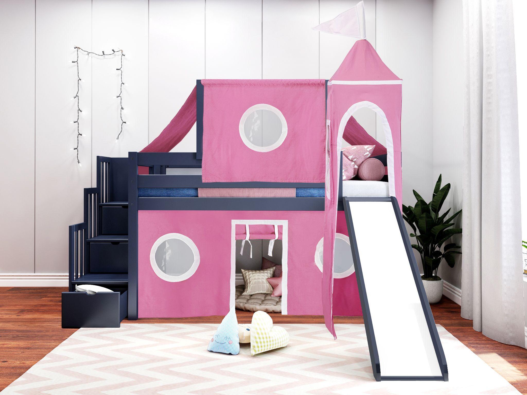 JACKPOT! Princess Twin Low Loft Stairway Bed in BLUE, Pink