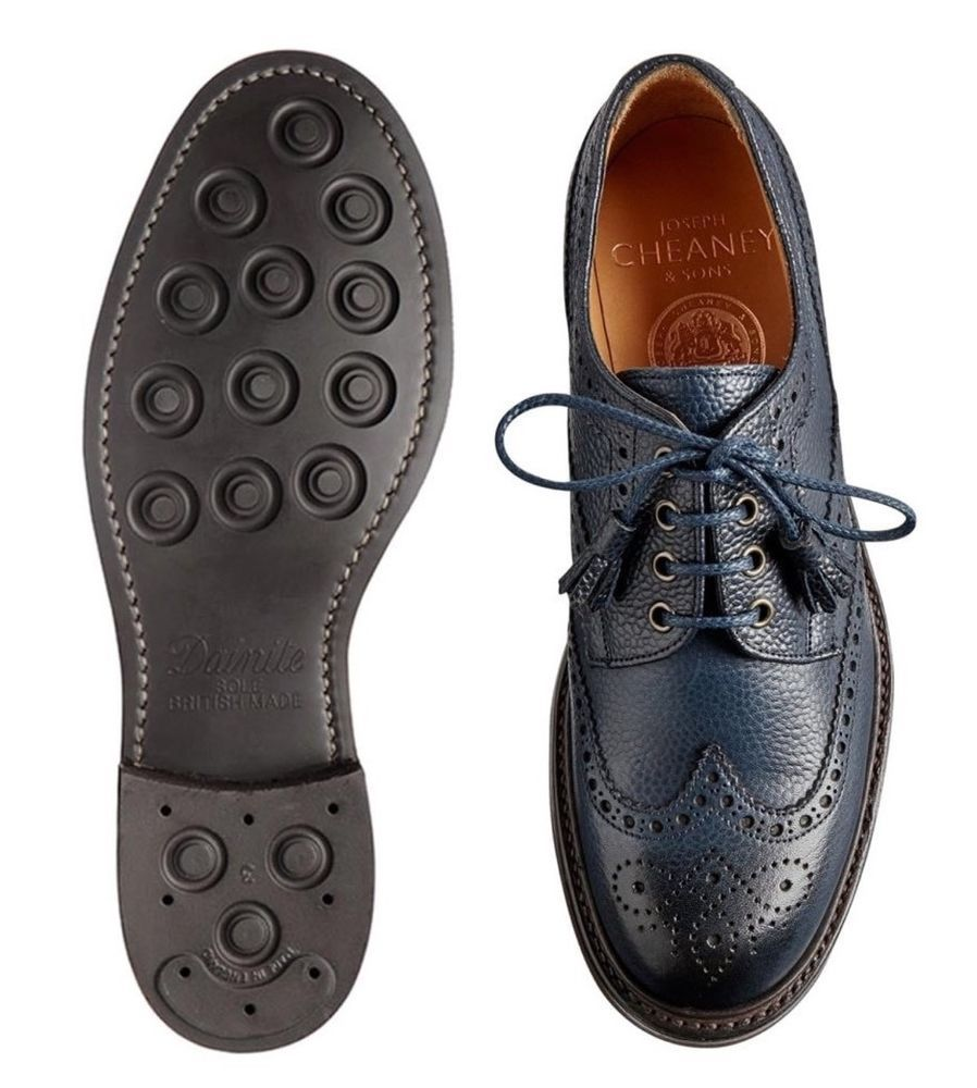 50e3aa86974e1 NAVY ladies tassel Derby brogues in navy grain leather. CHEANEY FOR TOAST.  Goodyear welted Dainite Rubber Sole   heel. Waxed laces wth Tassles.