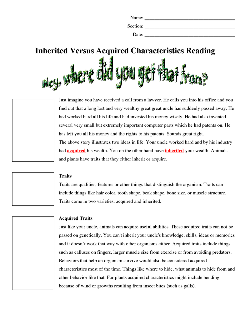Worksheets Inherited Traits Worksheet page 1 3 inherited versus acquired traits reading doc doc