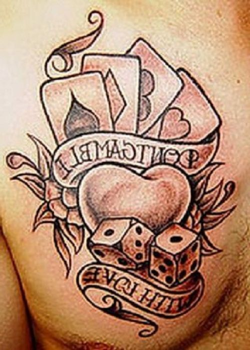 b6d196313c4ac Dice And Card Tattoo Designs Grey ink cards and dice | Tattoo ...