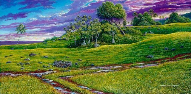 By Robert Lyn Nelson  Kipahulu,Maui landscape  18x30 Acrylic #hawaii  #art  @robertlynnelson.com
