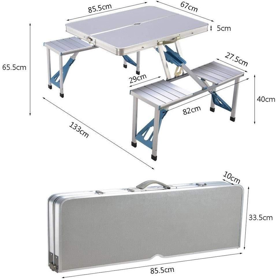 Aluminium Alloy Outdoor Camping Picnic Table Integrated Folding Table And Chair In 2020 Table And Chairs Folding Table Camping Picnic Table