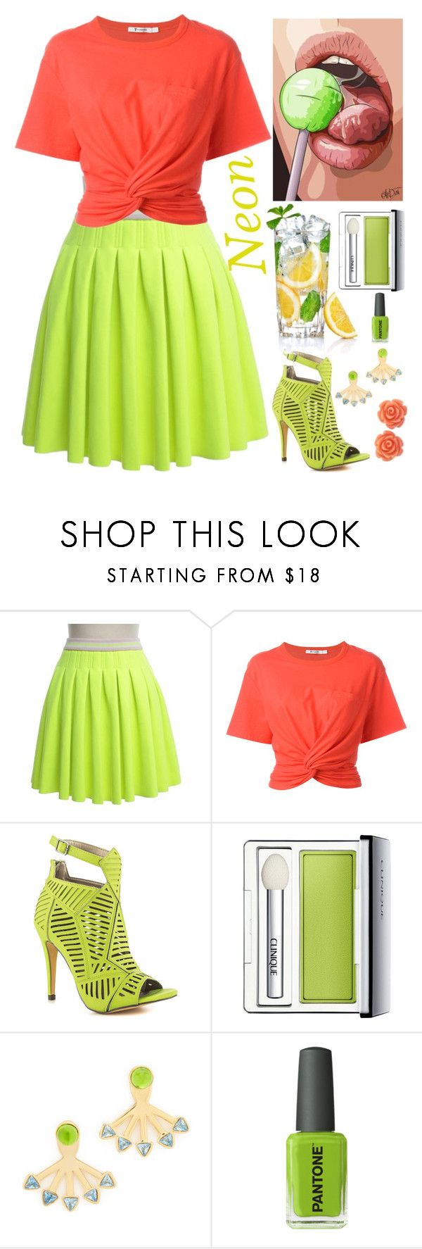 """""""Neon"""" by sukia ❤ liked on Polyvore featuring Manoush, Alexander Wang, Michael Antonio, Clinique, Rebecca Minkoff, Kester Black and Eternally Haute"""