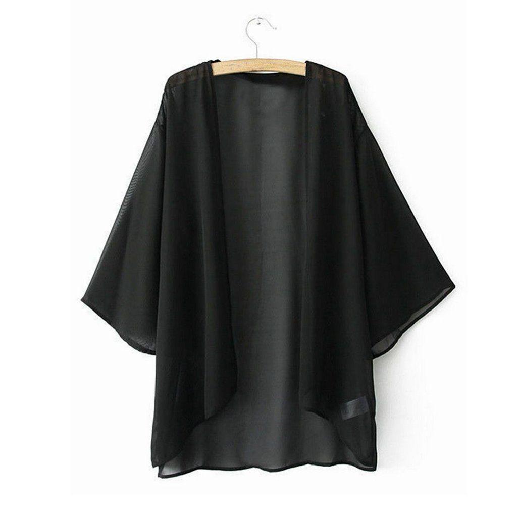 Solid Color Kimono Cardigan - All Black Kimono - Bohemian Kimono ...