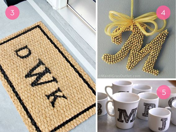 10 super chic monogram diy projects for your home paillasson monogramme et idee diy. Black Bedroom Furniture Sets. Home Design Ideas