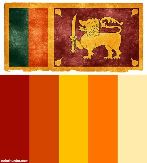 Sri Lanka Grunge Flag Color Scheme Flag Colors Sri Lankan Flag